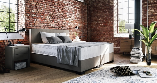 Boxspringbett in Kunstleder