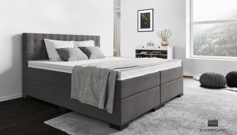 Boxspringbett Frieda 140 x 200 cm in Anthrazit-Grau
