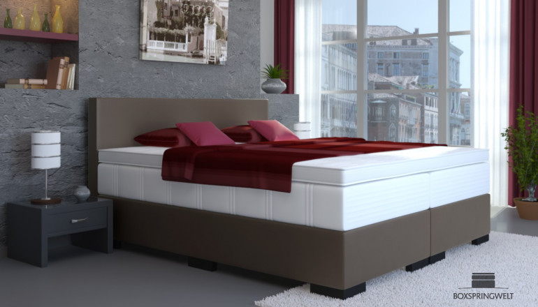 Kunstleder Boxspringbett Tony 140 x 220 cm in Anthrazit-Grau