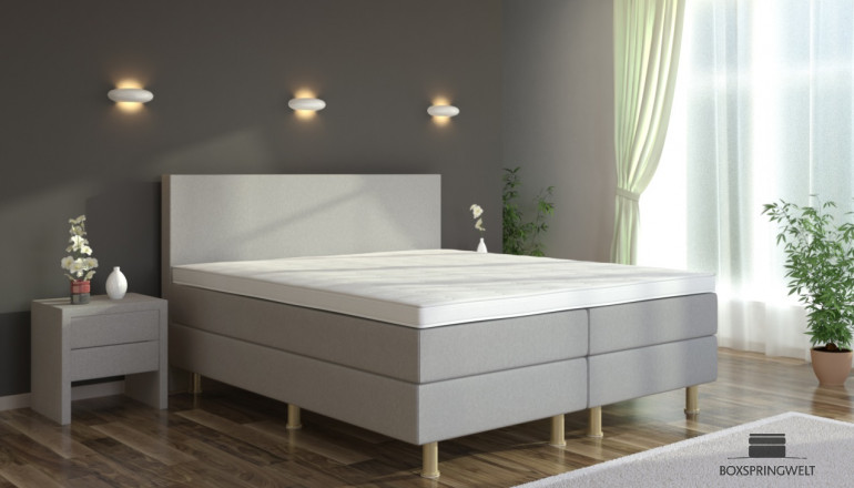 Boxspringbett Eva 100 x 210 cm in Grau-Silber