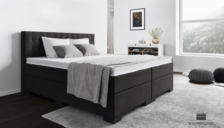 Boxspringbett Frieda 140 x 200 cm in Grau-Anthrazit