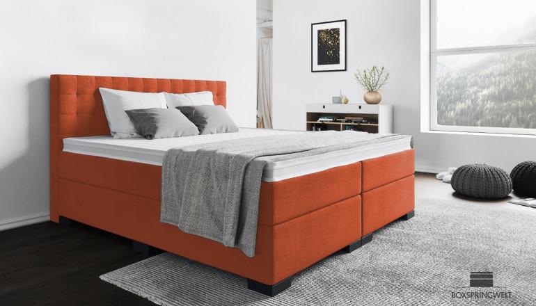 Boxspringbett Frieda 140 x 200 cm in Orange