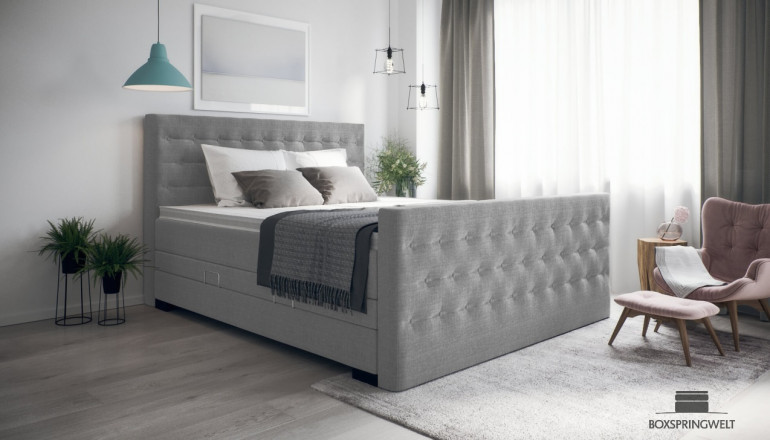 Boxspringbett William 180 x 200 cm in Anthrazit-Grau