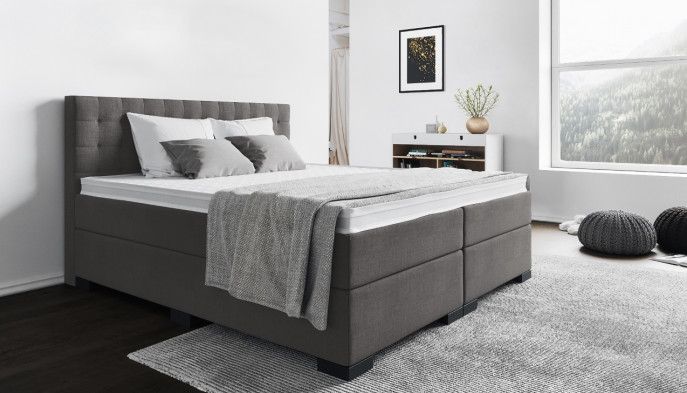 Boxspringbett Frieda 120 x 200 cm in Anthrazit-Grau